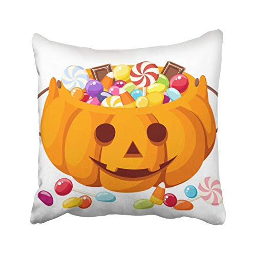 Emvency Blue Candy Halloween Candies in Jack O Lantern Colorful Pumpkin Corn Treat Chocolate Trick Bright Candy Throw Pillow Covers 18x18 inch Decorative Cover Pillowcase Cases Case Two -