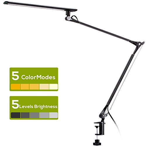 AVAWAY Metal Swing Arm Desk Lamp, Dimmable Architect Task Lamp with Clamp, 5 Brightness Levels, 5 Color Modes, Touch Control, Memory Function