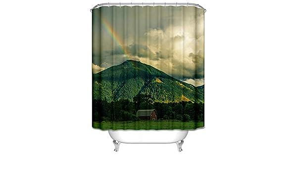 Beydodo Cortinas de Ducha 165x200CM Cortinas Ducha Poliester Cortina Ducha Impermeable Moho Arco Iris y Montaña Bosque Verde: Amazon.es: Hogar