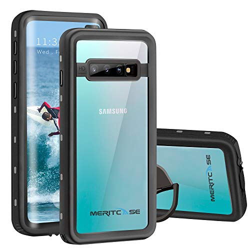 meritcase Compatible with Samsung Galaxy S10 Plus Waterproof Case, IP68 Waterproof S10 Plus Case with Fingerprint ID, Built in Screen Protector Kickstand Full Body Protective Case for Galaxy S10 Plus
