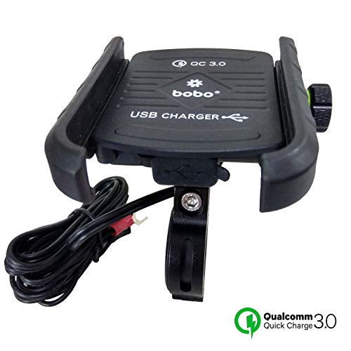 LD BOBO Jaw Grip Waterproof Bike Motorcycle Scooter Mobile Phone Holder Mount with Fast USB 3 0 Charger Ideal for Maps and GPS Navigation Black