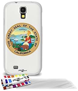 """Carcasa Flexible Ultra-Slim SAMSUNG I9500 / GALAXY S4 de exclusivo motivo [Escudo California] [Blanca] de MUZZANO  + 3 Pelliculas de Pantalla """"UltraClear"""" + ESTILETE y PAÑO MUZZANO REGALADOS - La Protección Antigolpes ULTIMA, ELEGANTE Y DURADERA para su SAMSUNG I9500 / GALAXY S4"""