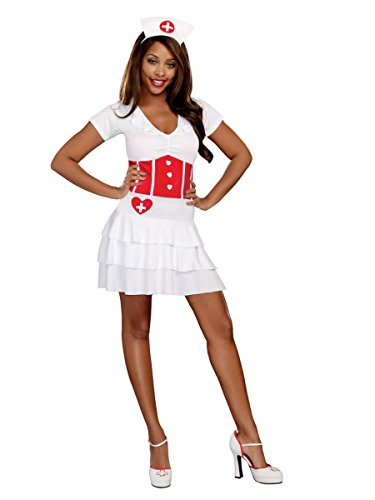 Womens Night Nurse Halloween Costume Dress & Headpiece Outfit Large 12-14