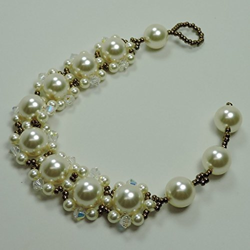 Bracelet with Swarovski Cream Color Pearls with Swarovski Crystals and Bronze Seed Beads. Adjustable Size from 6 1/2