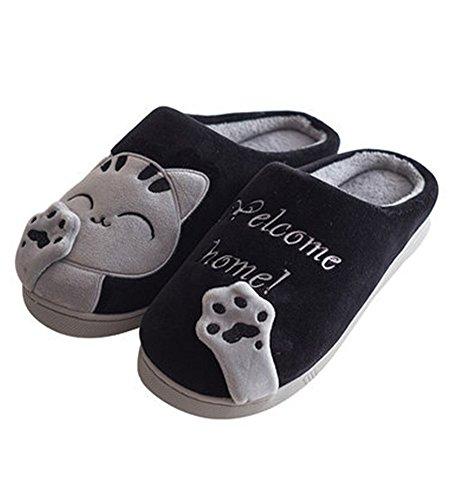 Peluche Unisex Donna Pattini Antiscivolo Cartone Nero Pantofole Scarpe Dell'orso Casa Slippers Inverno Uomo D Zampa Minetom Morbido Caldo 5AIIqw