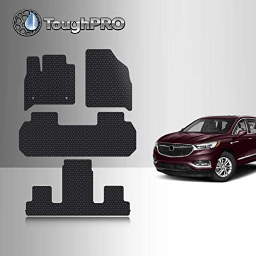 TOUGHPRO Floor Mat Accessories 1st + 2nd + 3rd Row Compatible with Buick Enclave (2nd Row Bucket Seats) – All Weather – Heavy Duty – (Made in USA) – Black Rubber – 2018, 2019, 2020, 2021, 2022