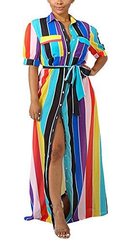 WearFun Women's Dress in Belted Shirt Cut Striped Long Maxi with (Rainbow Belted Belt)