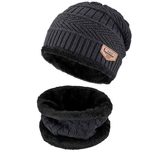 Beanie Hat Scarf Set Winter Warm Fleece Lined Skull Cap and Scarf for Men Women (Dark Grey)