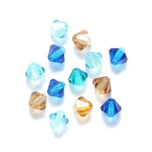 Preciosa Czech Crystal Bicone Bicone Beads set, 5by 5mm, mix ocean, 144-piece ()
