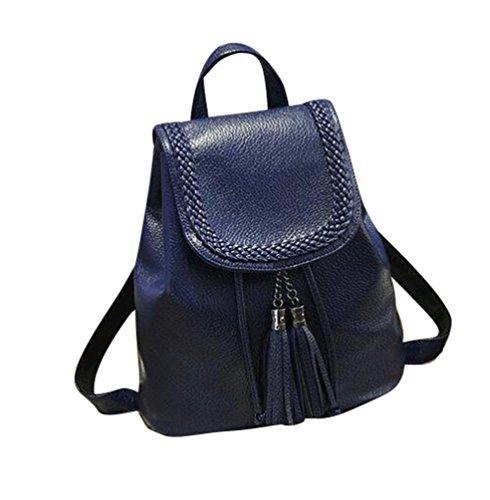 Baymate Retro Mujer Mochila Estudiantes PU Mochila de viaje bolsa de hombro Oscuro Azul