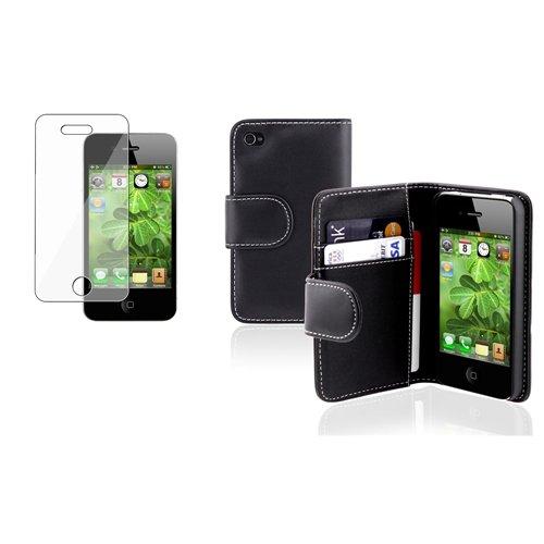 Schwarz Leder Wallet Cover Case+Clear Schutzfolie für Apple iPhone 4 4S