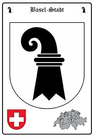 Schatzmix Basel Stadt Wappen Metal Sign Deko Sign Garten Blech