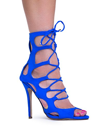 ROMA-51 Sexy Peep Toe Zipper Closure Gladiator Heel, Blue - 61, 7 B(M) US