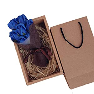 Little-Lucky 7pcs/Box Roses Flowers Box Artificial Simulation Everlasting Flower Gift Festival, Valentine's Day Box 38