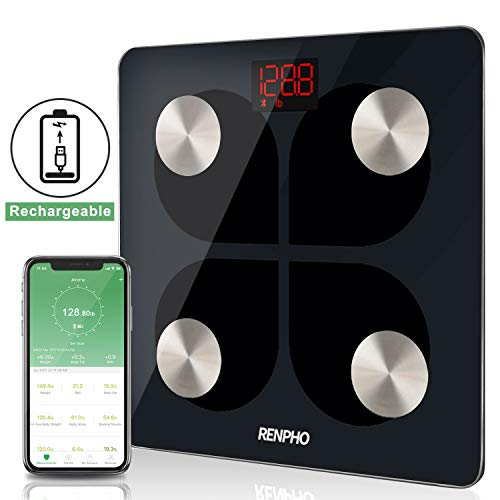 RENPHO Bluetooth Body Fat Smart Scale USB Rechargeable Digital Bathroom Weight Scale Body Fat Monitor with Smatrphone App, 396 ()