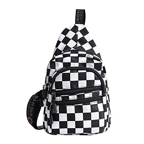 Mily Girls Fashion Sling Bag Checkerboard Canvas Chest Pack Plaid Shoulder Bag Skateboard Mini Backpack (Backpack Girl Skateboard)
