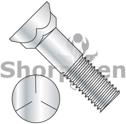 7//16-14X2 1//2 Grade 5 Plow Bolt With Number 3 Head Zinc