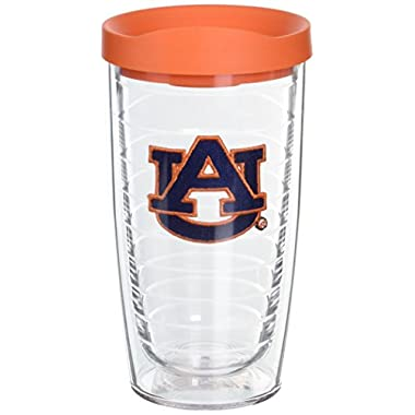 Tervis 1056609 Auburn University Emblem Individual Tumbler with Orange Lid, 16 oz, Clear