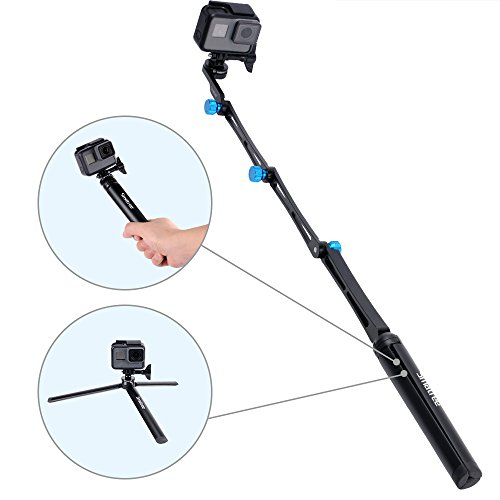 Smatree 3 way Foldable Pole/Monopod for GoPro Hero Fusion/6/5/4/3+/3/Session/GOPRO HERO 2018,Ricoh Theta S/V,Logitech Webcam C925e C922x C,Action Cameras, Cell Phones,Selfie Stick with Tripod Stand by Smatree (Image #2)