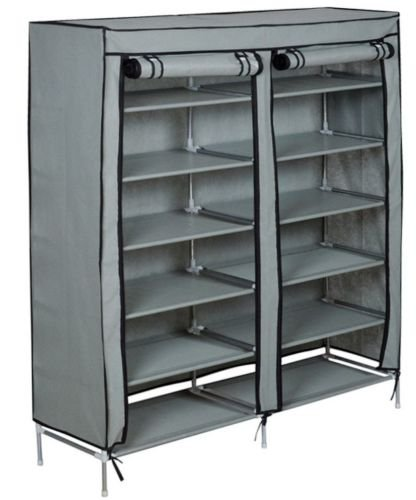 Bon New 6 Tier 2 Rows Doors Large Shoe Cabinet Rack Shoes Stand Storage  Organizer Grey