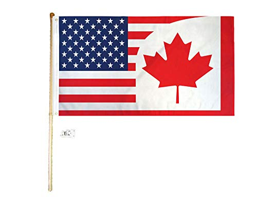 - American Wholesale Superstore 3x5 3'x5' USA Canada Combination Polyester Flag with 5' (Foot) Flag Pole Kit with Wall Mount Bracket & Screws (Imported)