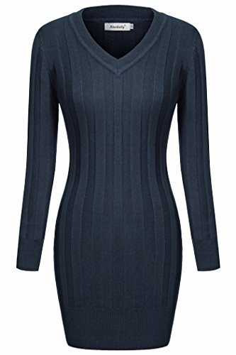 Women Knits,Ninedaily Long Sleeves Tunic Length Hipster Solid Club Wear Navy S