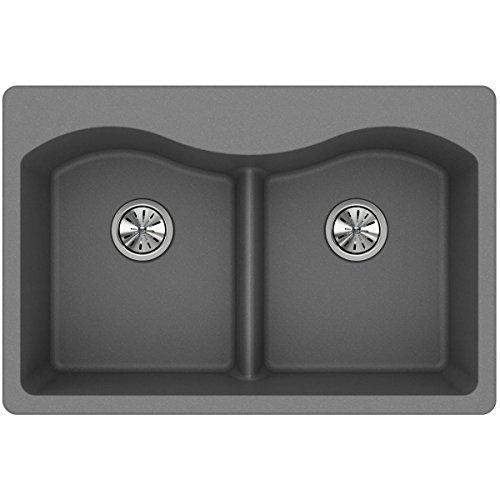 Elkay Quartz Classic ELGLB3322GS0 Greystone Equal Double Bowl Top Mount Sink with Aqua - Finish Greystone
