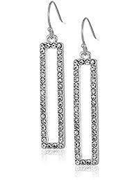 T Tahari Pave Rectangular Drop Earrings