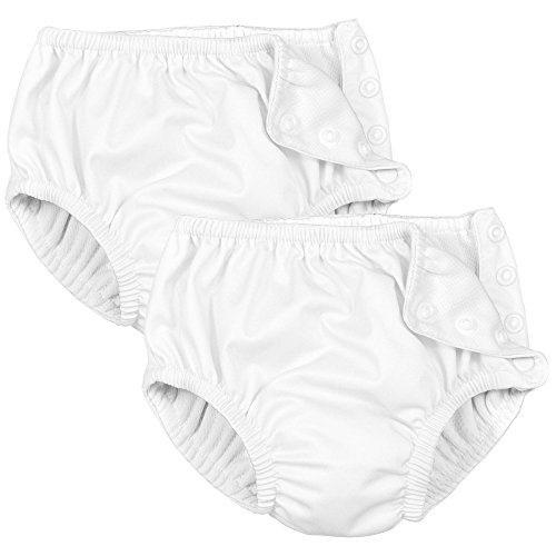 (Iplay 2 Pack White Swimsuit Diaper with Snap 3T)