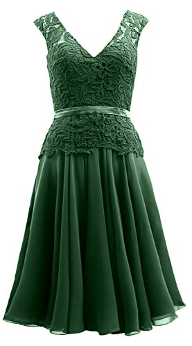Formal Midi Bride Mother V of Neck Gown The Chiffon MACloth Green Dark Women Lace Dress FwxX40fnqB