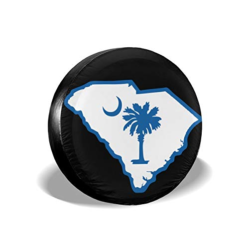 South Carolina State Flag Spare Tire Cover Waterproof Dust-Proof Fit for Many Vehicle (1PCS) 15 Inch