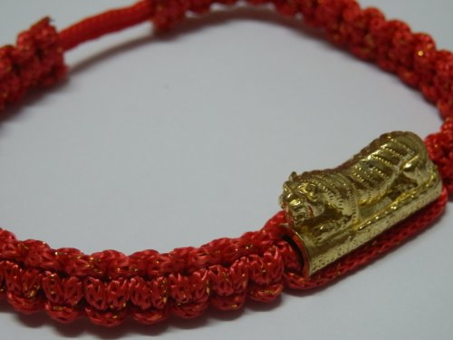 Chaimongkol Unique Rare Talisman Thai Buddha Amulet Blessed Red Cotton with Tiger-takrud Bracelet Wristband Handmade