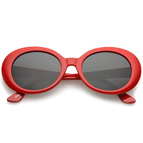 BOLD Retro Oval MOD Thick Frame Clout Goggles Round Lens Sunglasses (Red, - Onassis Jackie Sunglasses