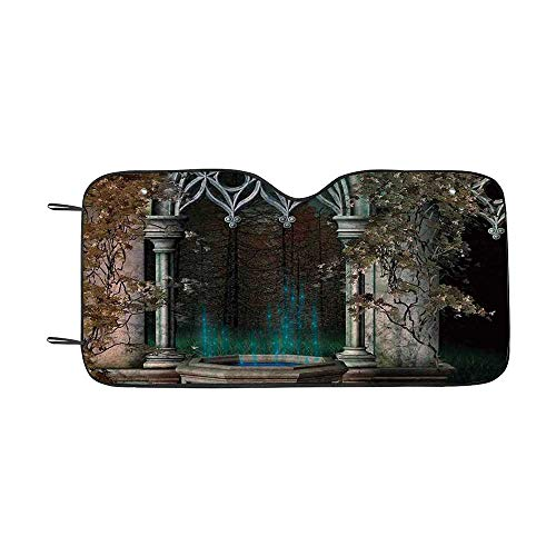 Gothic Durable Car Sunshade,Mystical Patio with Enchanted Wishing Well Ivy on Antique Gateway to Magical Forest for car,55