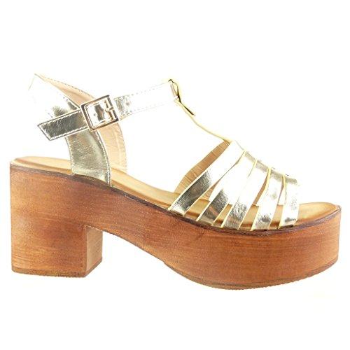 Angkorly - Zapatillas de Moda Sandalias correa zapatillas de plataforma mujer multi-correa tachonado madera Talón Tacón ancho alto 7 CM - Oro