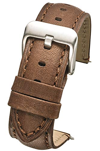 Padded Soft Genuine Waterproof Leather Watch Band - 24mm - Brown