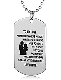 Gifts for Boyfriend Girlfriend Husband and Wife Jewelry Military Stainless Chains Air Force Pendants Dog Tag Necklace