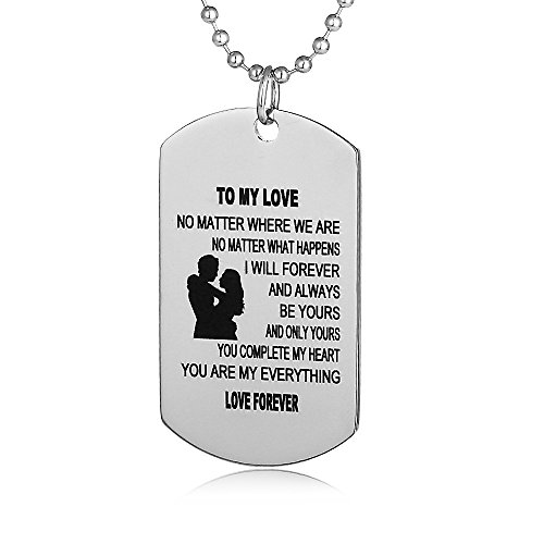 FAYERXL Gifts for Boyfriend Girlfriend Husband and Wife Jewelry Military Stainless Chains Air Force Pendants Dog Tag Necklace (to My Love)