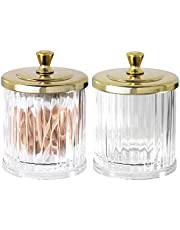 mDesign Fluted Bathroom Vanity Storage Organizer Canister Apothecary Jar for Cotton Swabs, Rounds, Balls, Makeup Sponges, Bath Salts - 2 Pack - Clear/Soft Brass