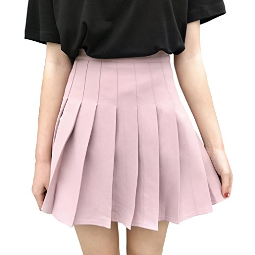 - Hoerev Women Girls Short High Waist Pleated Skater Tennis School Skirt Pink