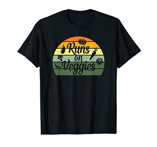 Retro Vintage Style Vegetarian Vegan Gift | Runs on Veggies T-Shirt
