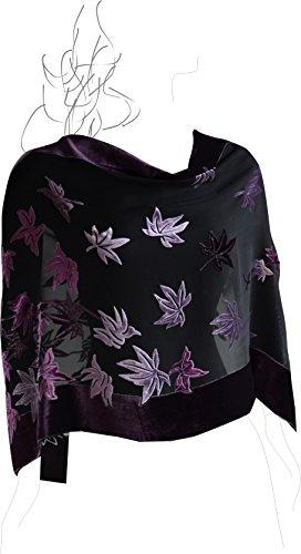 Based Burn out Velvet Shawl Purple black product image