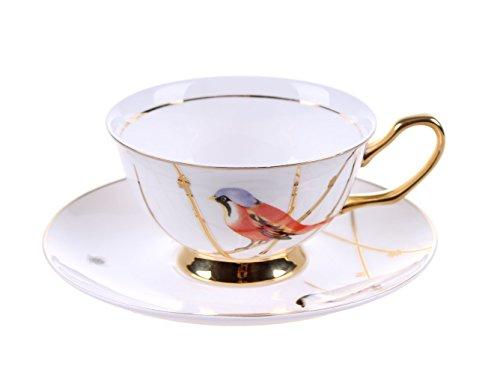 MengFeng Bone China Tea/Coffee Cup and Saucers (White, (Not Fine Bone China)