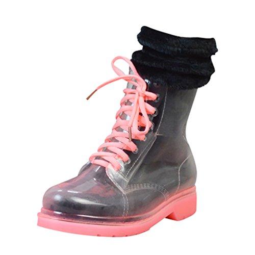 LvRao Botas Tobillo Alto para Mujeres Invierno Calentar Boots de Lluvia Nieve Zapatos Cordones Botines Rosa con Calcetines