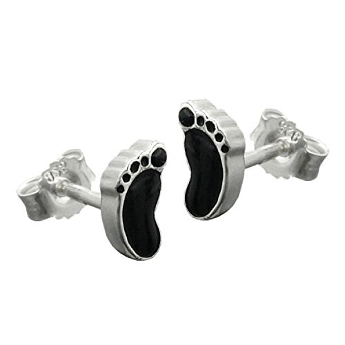 Mya Art Argent 925Boucles d'oreille fille Enfants Boucles d'oreilles avec pieds bébé pieds Noir