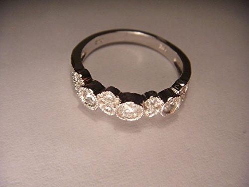 - Wonderful Estate 14K White Gold Diamond Wedding Band Ring