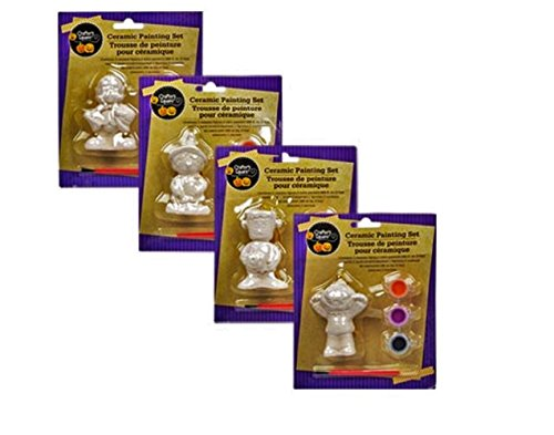 Halloween Figurine Ceramic Paint Sets, 4-set Bundle