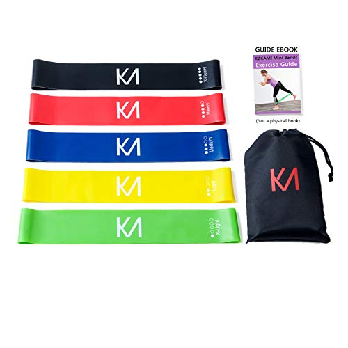 EZKAMI Resistance Bands, Exercise Bands for Booty, Crossfit, Stretching, Strength Training, Physical Therapy, Home Fitness, Workout Bands,Set of 5, 12 x 2
