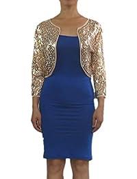 3/4 Sleeve Bling Sequin Transparent Mesh Bolero Wrap Shrug Tops Jackets