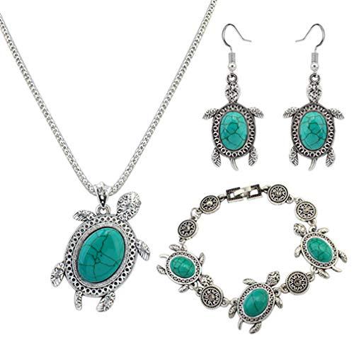 TraveT Vintage Turquoise Turtle Pendant Necklace Earrings Bracelet Set for Women Hook Dangle Drop Earrings Chain Necklace Charm Bracelet Bangle Fashion Jewelry Sets,Green